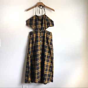 Urban Outfitters Yellow Plaid Cut Out button dress